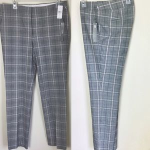 Loft Marisa Slim Pencil Black plaid pants 6 Tall